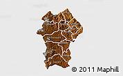 Physical 3D Map of Gikongoro, single color outside