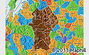 Physical Map of Gikongoro, political outside
