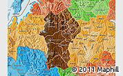 Physical Map of Gikongoro, political shades outside