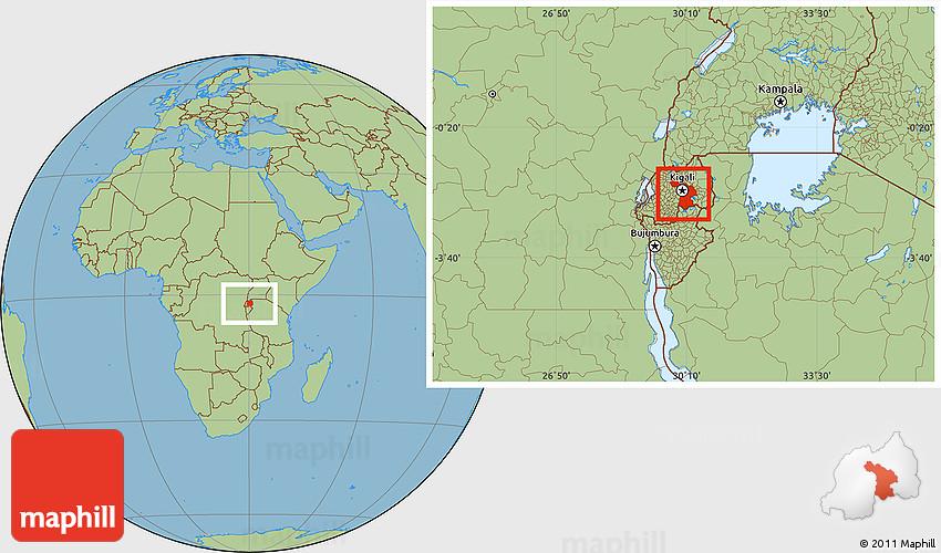 Savanna Style Location Map of Kigali