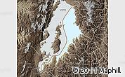 Physical Map of Lake Kivu, semi-desaturated
