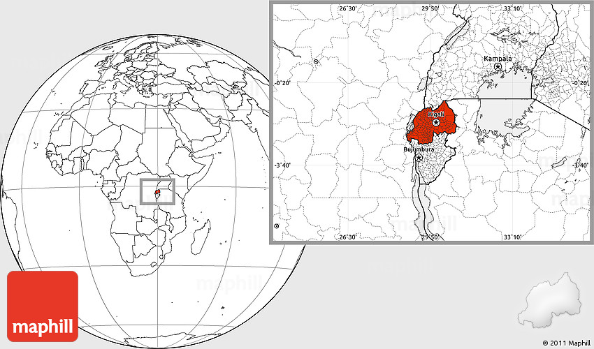 Blank Location Map of Rwanda