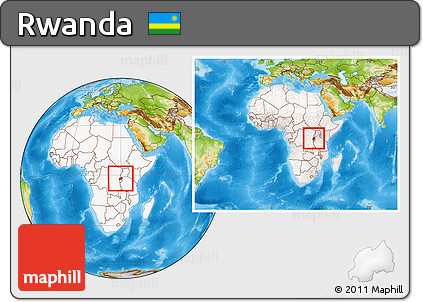 Physical Location Map of Rwanda, highlighted continent, within the entire continent