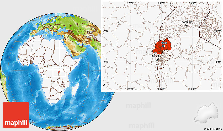 Physical Location Map of Rwanda highlighted continent