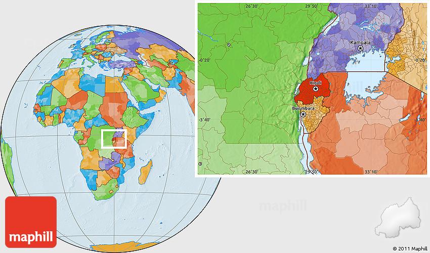 Political Location Map of Rwanda