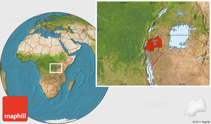Satellite Location Map of Rwanda