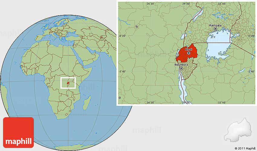 Savanna Style Location Map of Rwanda