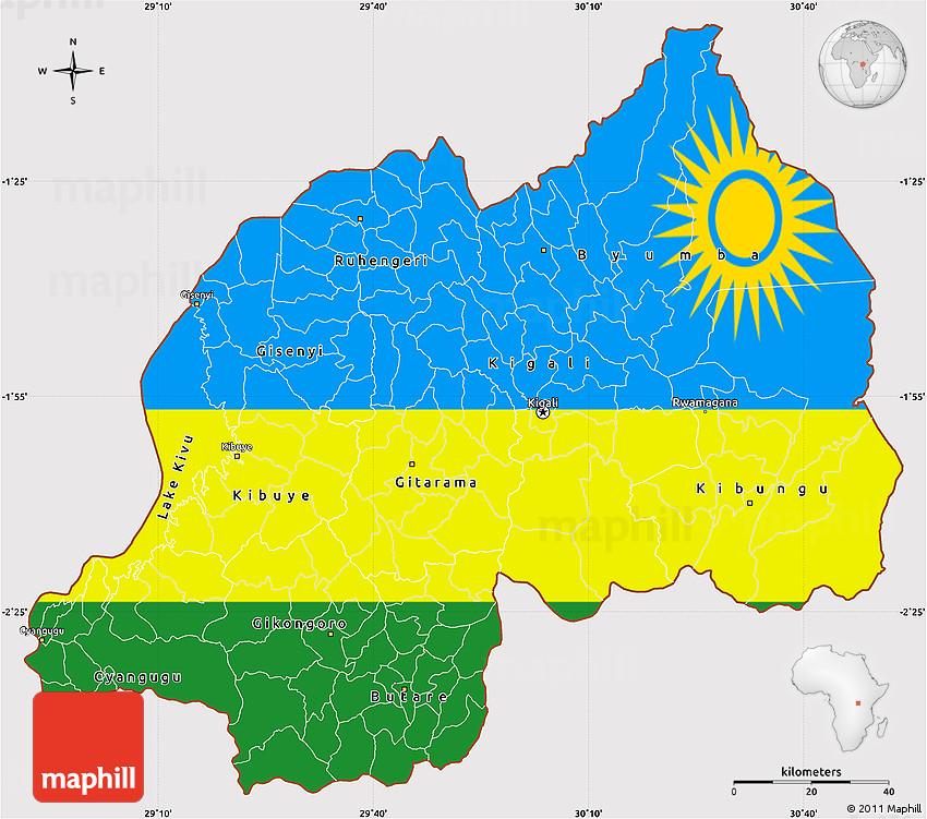Flag Simple Map Of Rwanda - Rwanda map