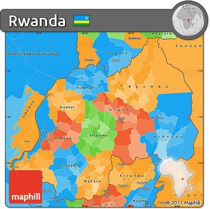 Free Political Simple Map of Rwanda