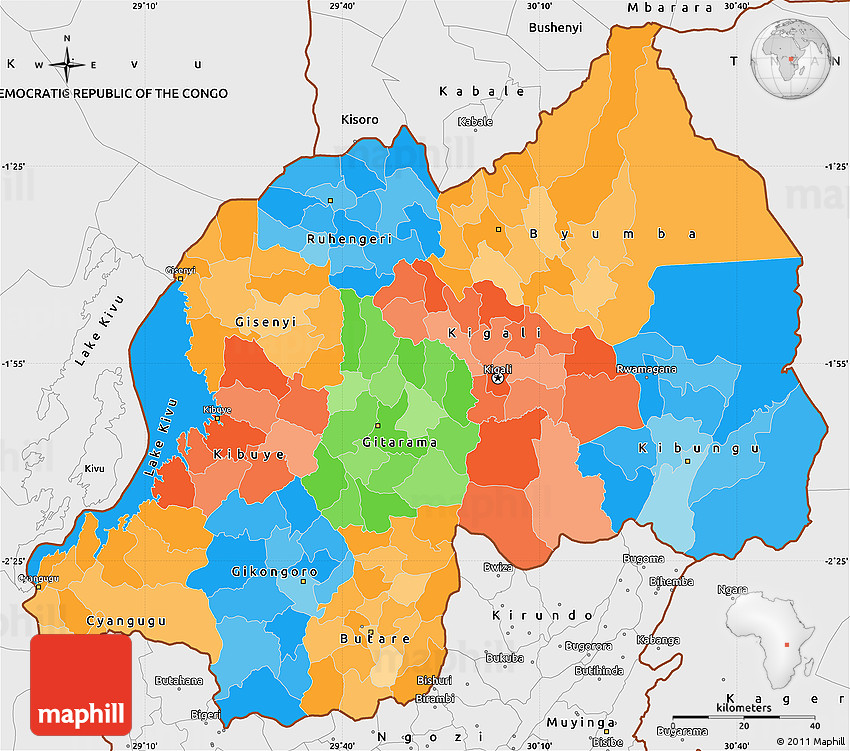 Political Simple Map of Rwanda single color outside borders and labels