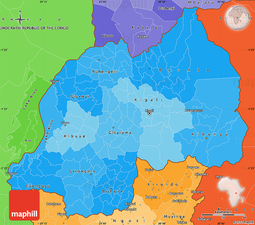 Political Shades Simple Map of Rwanda