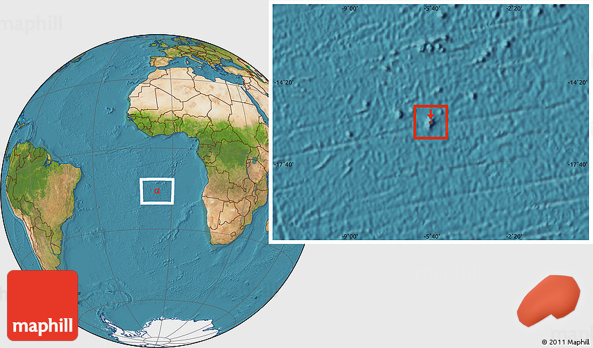 Satellite Location Map of St Helena Island