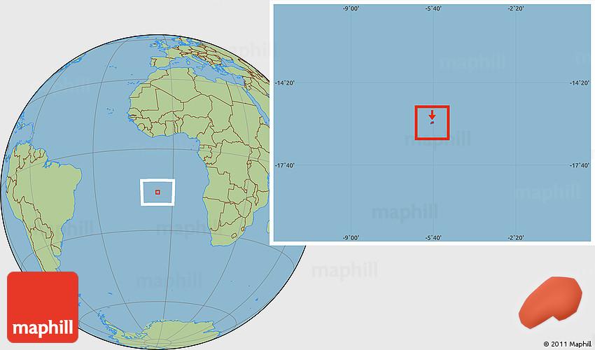 Savanna Style Location Map Of St Helena Island - Saint helena map