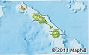 Physical 3D Map of Saint Kitts and Nevis