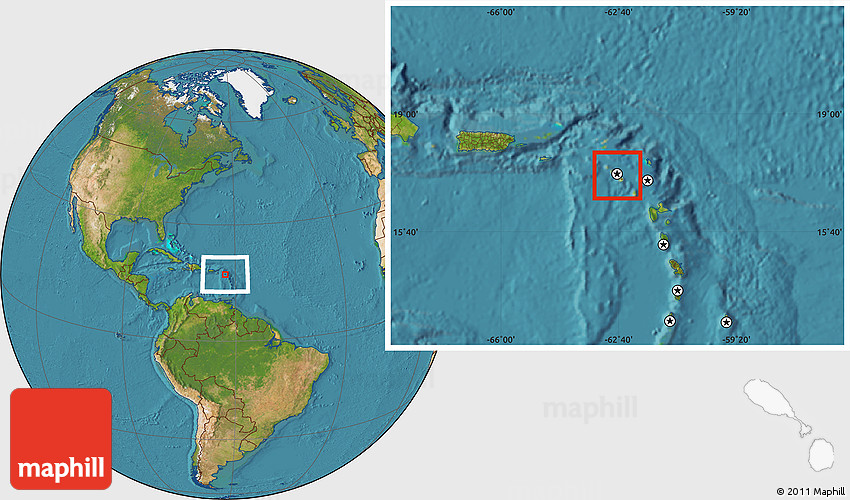 Physical Location Map of Saint Kitts and Nevis, satellite ...