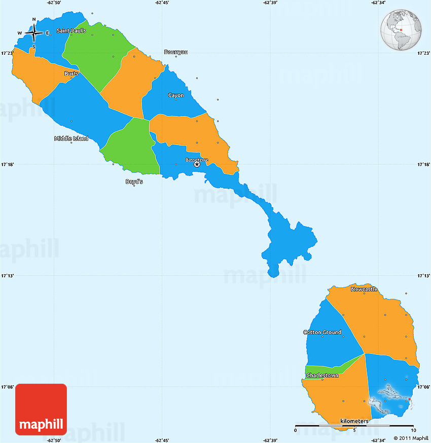 Political Simple Map Of Saint Kitts And Nevis - Saint kitts and nevis map
