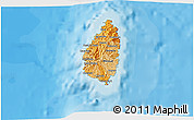 Political Shades 3D Map of Saint Lucia