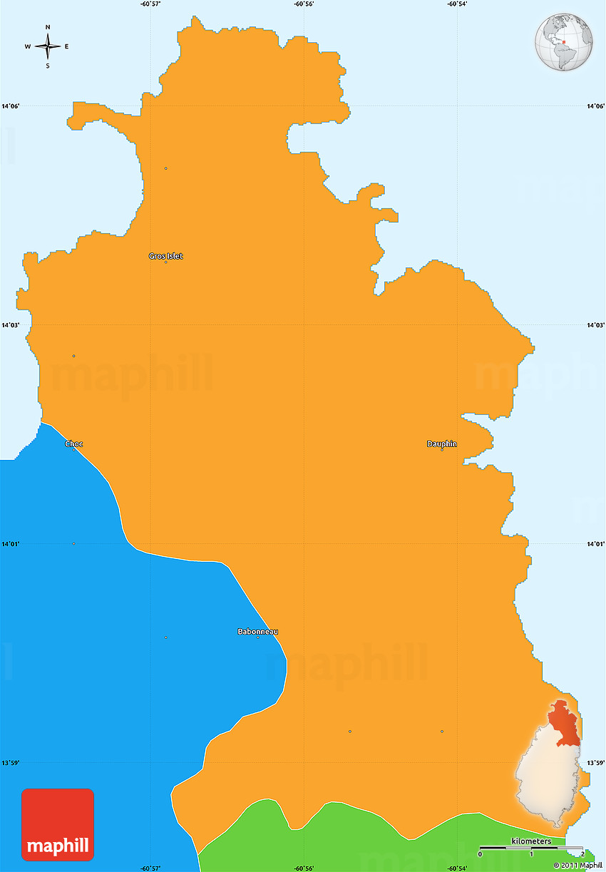 political simple map of gros islet