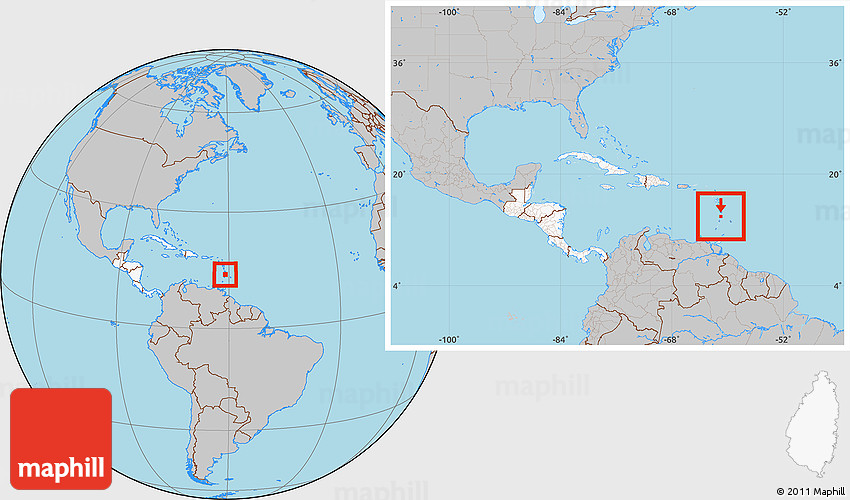 Gray Location Map of Saint Lucia highlighted continent within the