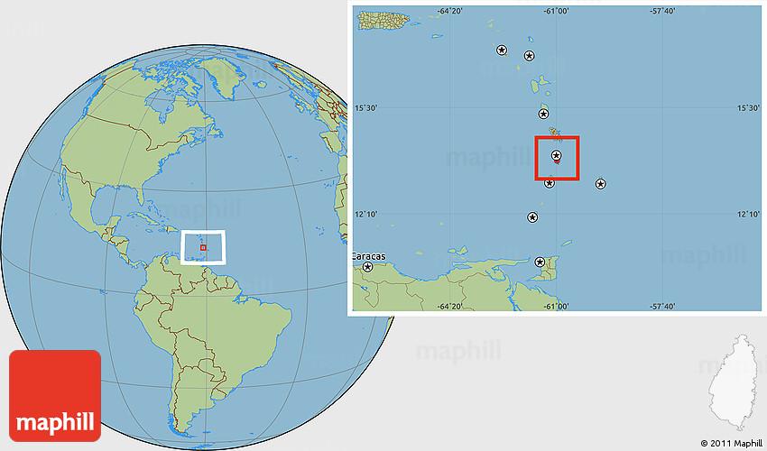 Savanna Style Location Map of Saint Lucia
