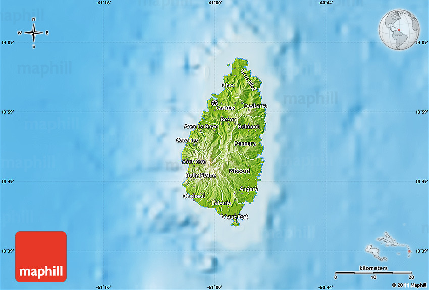 Physical Map of Saint Lucia