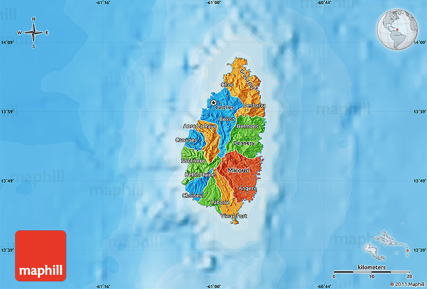 Political Map of Saint Lucia shaded relief outside bathymetry sea