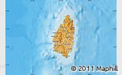 Political Shades Map of Saint Lucia