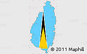 Flag Simple Map of Saint Lucia