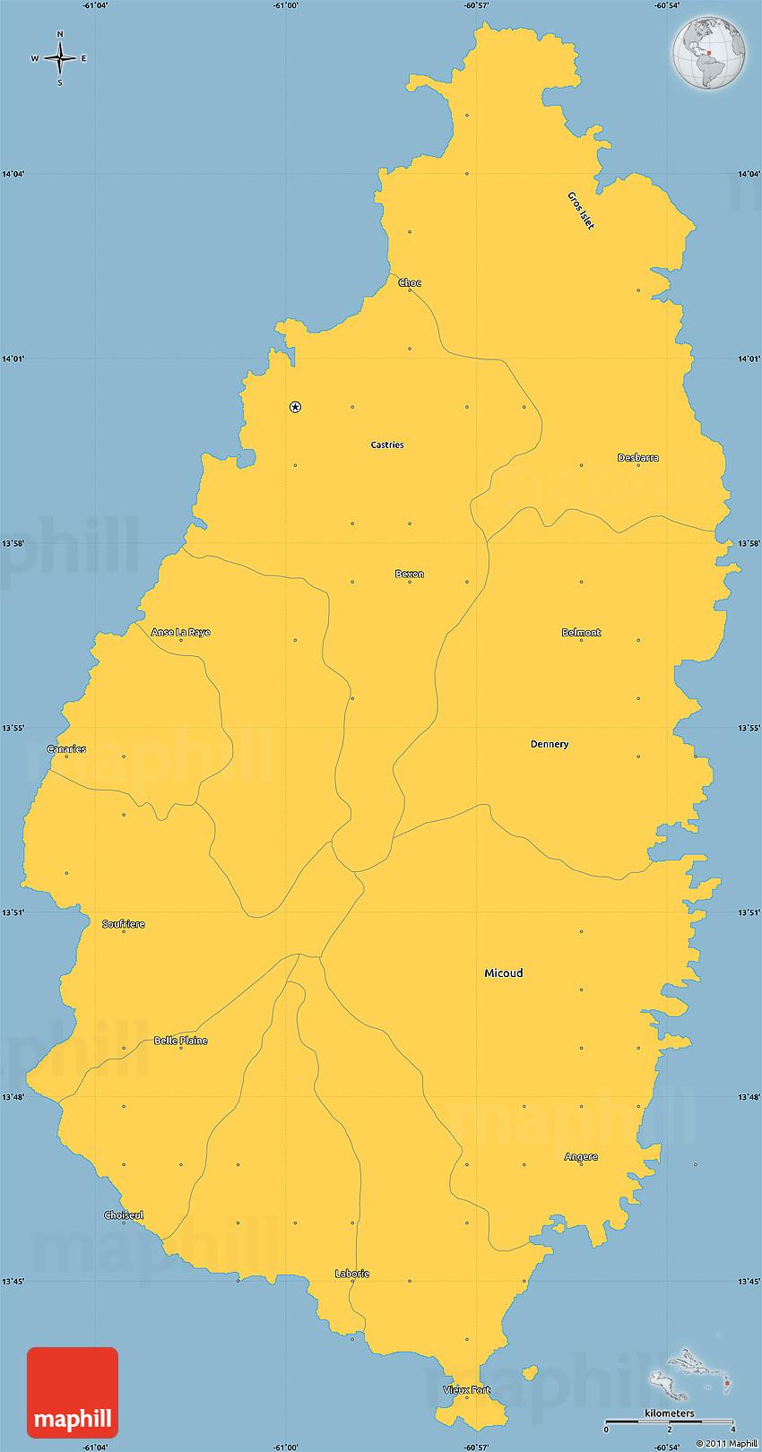 savanna style simple map of saint lucia