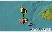 Flag 3D Map of Saint Pierre and Miquelon, satellite outside