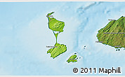 Physical 3D Map of Saint Pierre and Miquelon, satellite outside, shaded relief sea