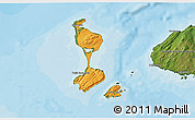 Political Shades 3D Map of Saint Pierre and Miquelon, satellite outside, bathymetry sea