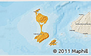 Political Shades 3D Map of Saint Pierre and Miquelon, shaded relief outside, bathymetry sea