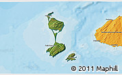 Satellite 3D Map of Saint Pierre and Miquelon, political shades outside