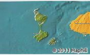 Satellite 3D Map of Saint Pierre and Miquelon, political shades outside, satellite sea