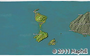 Satellite 3D Map of Saint Pierre and Miquelon, semi-desaturated, land only