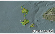 Satellite 3D Map of Saint Pierre and Miquelon, semi-desaturated