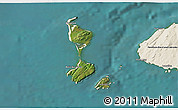 Satellite 3D Map of Saint Pierre and Miquelon, shaded relief outside, satellite sea