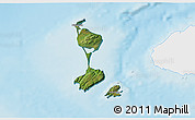 Satellite 3D Map of Saint Pierre and Miquelon, single color outside, shaded relief sea
