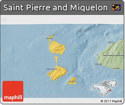 Savanna Style 3D Map of Saint Pierre and Miquelon
