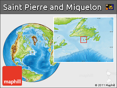 Physical Location Map of Saint Pierre and Miquelon