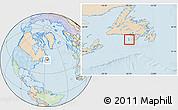 Political Location Map of Saint Pierre and Miquelon, lighten, land only