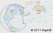 Political Location Map of Saint Pierre and Miquelon, lighten