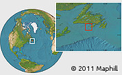 Political Location Map of Saint Pierre and Miquelon, satellite outside