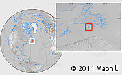 Satellite Location Map of Saint Pierre and Miquelon, lighten, desaturated