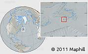 Satellite Location Map of Saint Pierre and Miquelon, lighten, semi-desaturated
