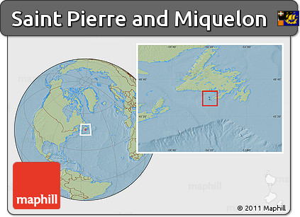 Satellite Location Map of Saint Pierre and Miquelon, savanna style outside, hill shading