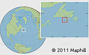 Satellite Location Map of Saint Pierre and Miquelon, savanna style outside