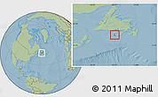 Savanna Style Location Map of Saint Pierre and Miquelon, hill shading