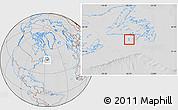 Savanna Style Location Map of Saint Pierre and Miquelon, lighten, desaturated, hill shading